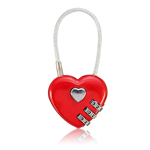 (OKIl Creative Gift Idea Love Lock Personalised Engraved Padlock Heart Shaped Lock Decorations)