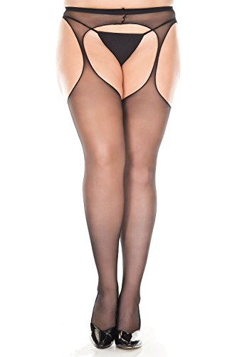 Womens Sheer Crotchless Suspender Pantyhose (Queen, Black) -
