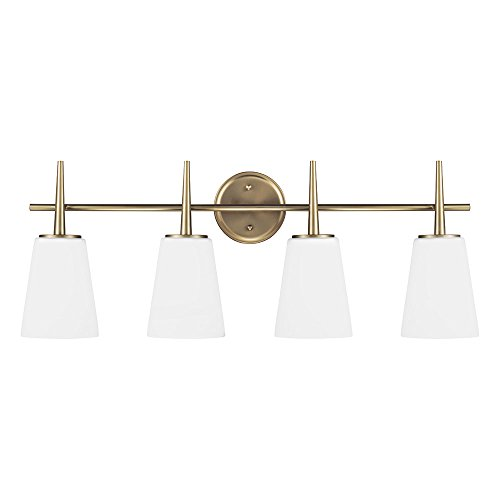 Sea Gull Lighting 4440404-848 Driscoll Four-Light Bath or Wall Light Fixture with Cased Opal Etched Glass, Satin Bronze Finish (Satin Brass Bath Light)