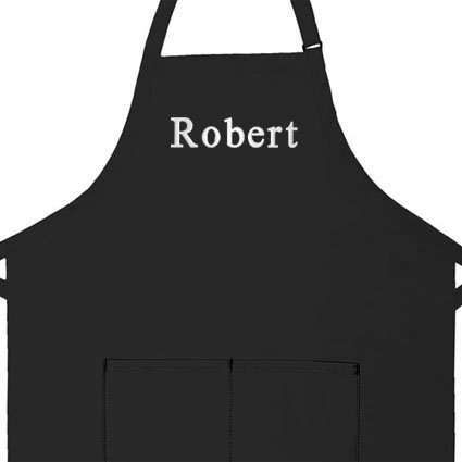 Personalized Kitchen Aprons (Personalized Apron, Add a Name Embroidered Design, Add Your Own Name, Cotton/poly Commercial Made in the USA Apron, Adult Bib Aprons (Adult Regular 28