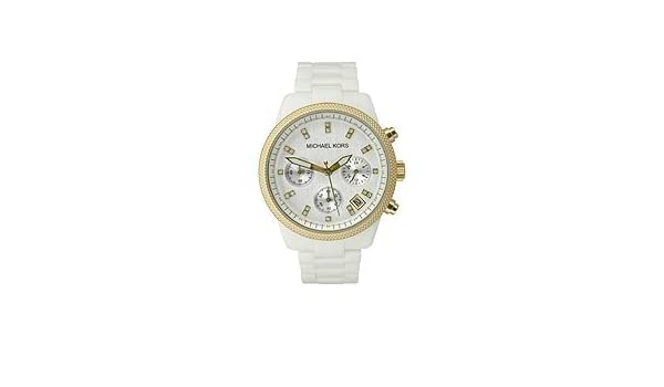 56be615ad Amazon.com: Michael Kors Ceramic White Bracelet Chronograph Silver-Tone  Dial Women's Watc...: Watches