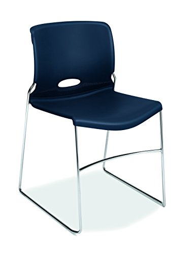 HON Olson Stacking Chair - Guest Chair for Office, Cafeteria, Break Rooms, Training or Multi-Purpose Rooms, Regatta/Blue Shell, 4 pack (H4041)