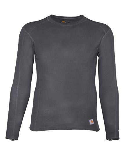 Carhartt Men's Force Midweight Classic Thermal Base Layer Long Sleeve Shirt, Shadow, Large (Cold Gear Long Sleeve Shirts)