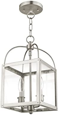 Livex Lighting 4041-91 Milford 2-Light Convertible Hanging Lantern Ceiling Mount, Brushed Nickel