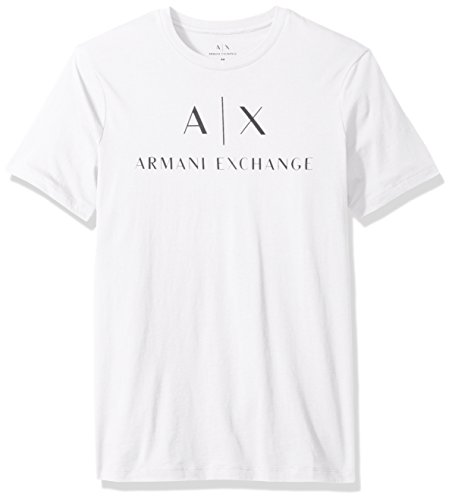 Exchange Short Sleeve T-shirt - A|X Armani Exchange Men's AX Logo Crew Neck Short Sleeve Jersey T-Shirt, White, Large