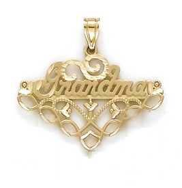 JewelryWeb 14 Carats Pendentif Inscription Grandma