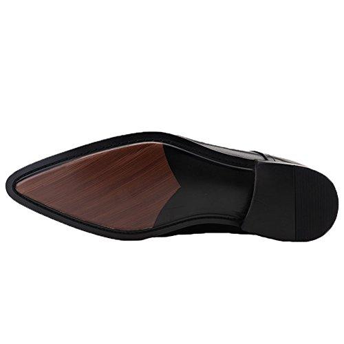Santimon Mens Dress Boots Scarpe Stringate In Pelle Con Fibbia Oxford Alla Caviglia Nere
