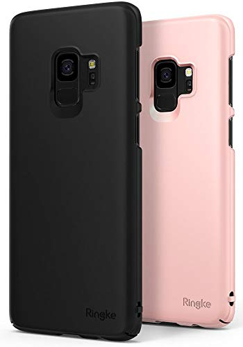 Ringke Slim Case Compatible with Galaxy S9 Case (2 Pack) Dazzling Slender (Laser Precision Cutouts) Fashionable Superior Steadfast PC Hard Cover for GalaxyS9 - Black & Peach Pink