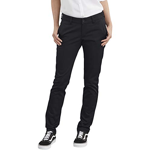 Dickies Women's Straight Flex Twill Pant, Rinsed Black, 18