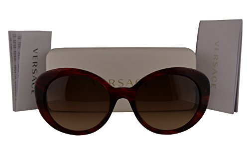 Versace VE4318-A Sunglasses Transparente Striped Red w/Brown Gradient Lens 520313 VE4318A VE 4318-A VE - 2163 Versace