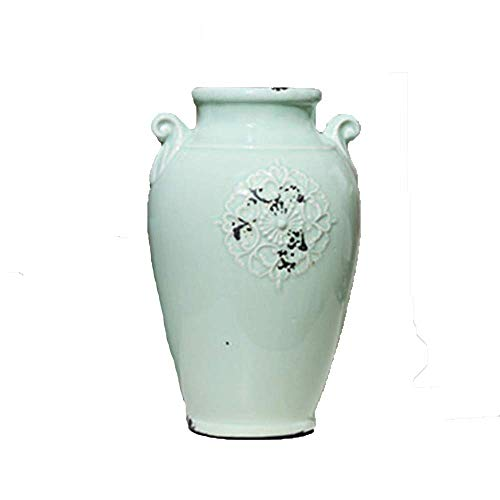 lishirao Ornament,Porcelain vase Retro-Made Old Celadon Green Double Ear Flower Device Home Accessories