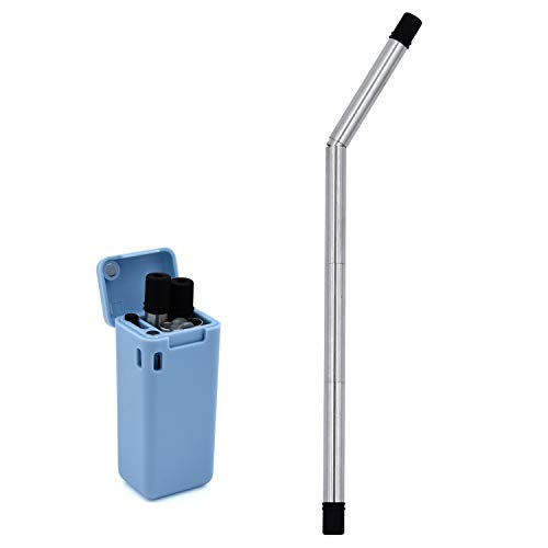 Stainless Steel Folding Drinking Straw with Hard Case and Cleaning Brush, Portable and Reusable. (Blue)