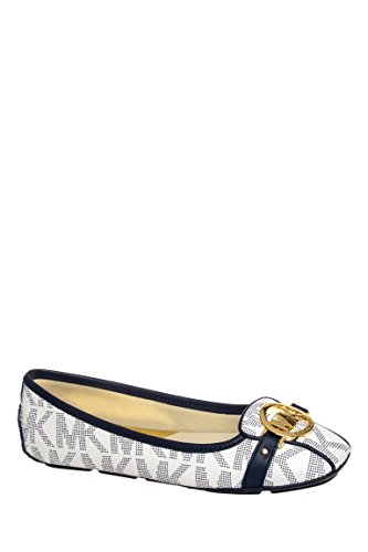 f0ce86eaee98 Galleon - MICHAEL Michael Kors Women s Fulton Moccasin White Navy 9 M