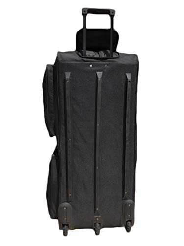 Gothamite 36-inch Rolling Duffle Bag with Wheels | Luggage Bag | Hockey Bag | XL Duffle Bag With Rollers | Heavy Duty 1200D Polyester (Black)