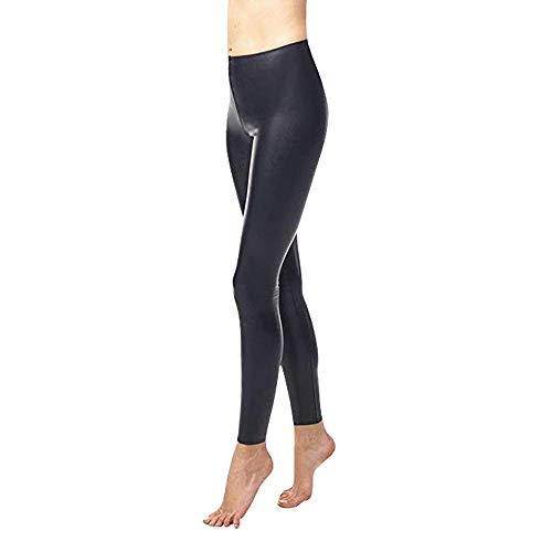 commando Women's Perfect Control Faux Leather Leggings, Black, Medium -