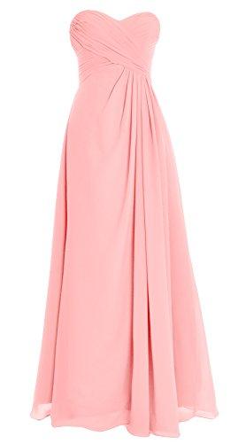 Evening Wedding Strapless Zartrosa Chiffon Dress Gown MACloth Bridesmaid Party Long Women xvw55qY0