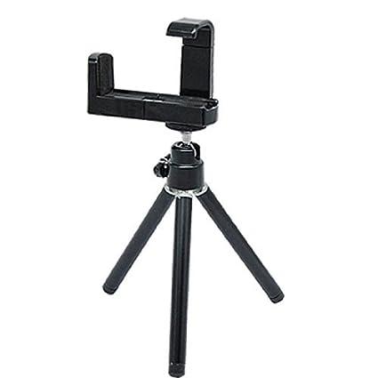 eDealMax plástico del teléfono celular de la cámara giratoria del soporte del trípode Negro