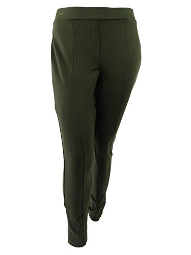 Style & Co. Womens Plus Seamed Flat Front Leggings Green 24W
