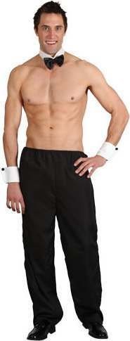 Party Boy Stripper Mens Stag Night Outfit Topless Butler Costume & Thong 4 Sizes ()