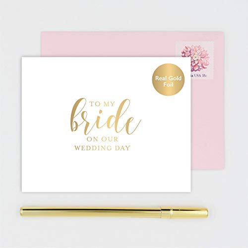 To My Bride on our Wedding Day Card for Wife - Handmade White Card Stamped with Gold Foil Calligraphy Design - Pink Envelope