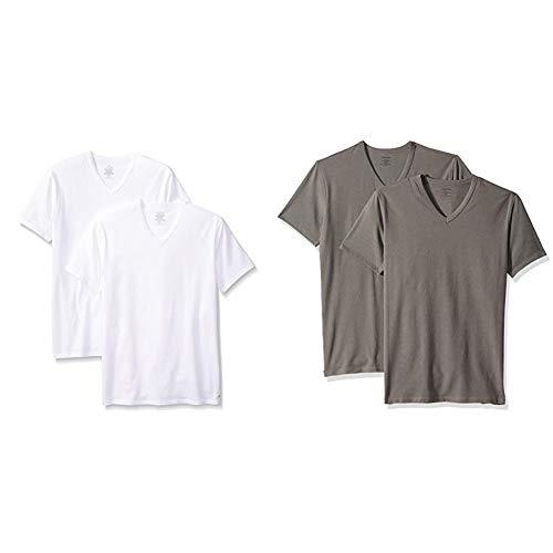 ndershirts Cotton Stretch 2 Pack V Neck Tshirts, White, Medium and  Grey Sky, M ()