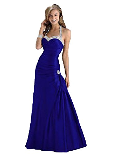 Floor Taffeta Natural Length (OYISHA Women's Satin Sweetheart Halter Mermaid Long Evening Party Gown Dress Royal Blue 12)