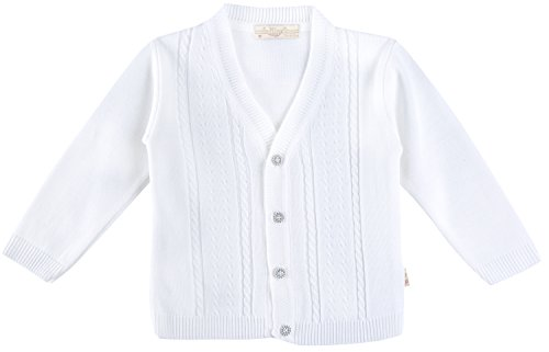 Lilax Baby Boy Cable-Knit Basic Knit Cardigan Sweater 3-6 Months White
