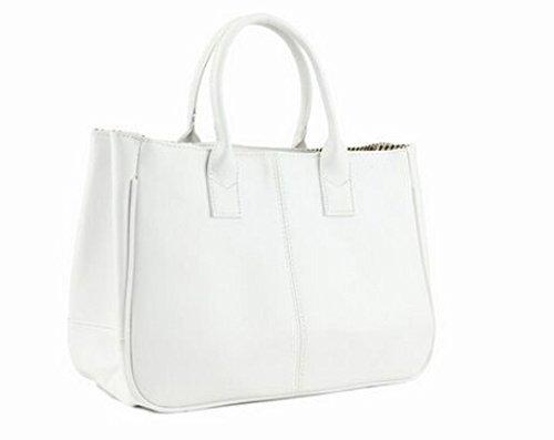 JOVANAS FASHION Women Simple Style PU leather Clutch Handbag Bag Totes Purse (White)