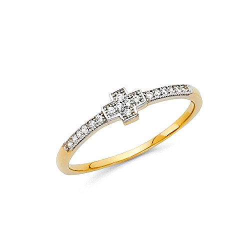 Paradise Jewelers 14K Solid Gold Small Cross Cubic Zirconia Fancy Ring, Size 5.5