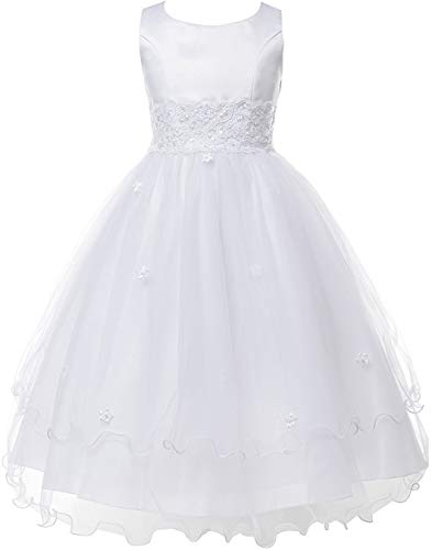 Big Girls Embroidery Lace Trim Tulle Bead Holy First Communion Flower Girl Dress White 14 (1KD98) -