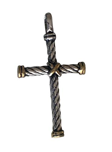 Designer Inspired Silver and 18k Yellow Gold Plated Petite X Cross Pendant