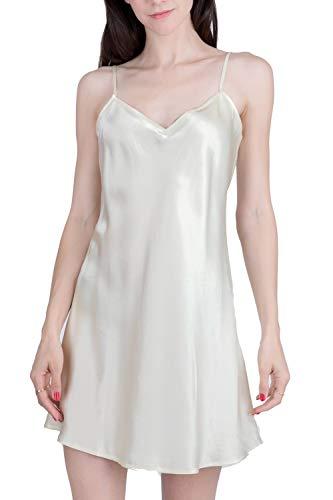 - OSCAR ROSSA Women's Luxury Silk Sleepwear 100% Silk Slip Chemise Lingerie Nightgown,Ivory,Small