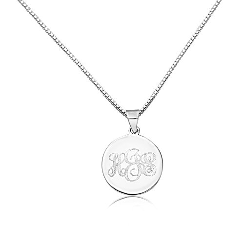 Sterling Silver Women's Personalized Pendant 18mm Three Initial Monogram Engraved Necklace