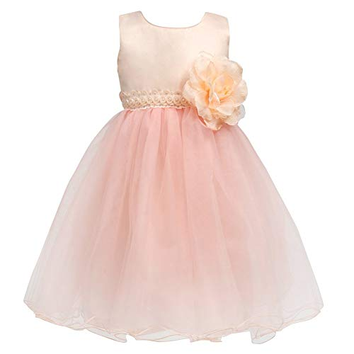 Big Girl Champagne Flower Girl Dress Tulle Wedding Party Pearl Mesh Petals Kids Little Bridesmaid Ball Gown Pageant Formal Puffy Tutu Graduation A Line Simple Sleevless Tea Length Short 7-8 Years