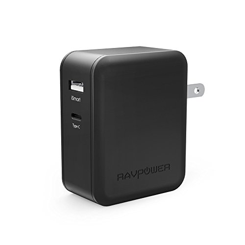 USB Type-C RAVPower 36W Dual USB C Wall Charger with 1 Power Delivery Port for MacBook, Dell XPS 13, Nexus 5X/ 6P and iSmart for iPhone, iPad, Samsung and More (Black)