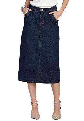 chouyatou Women's Comfy Package Hip A-Line Back Slit Mid-Long Pencil Denim Skirt (X-Large, Dark Blue)