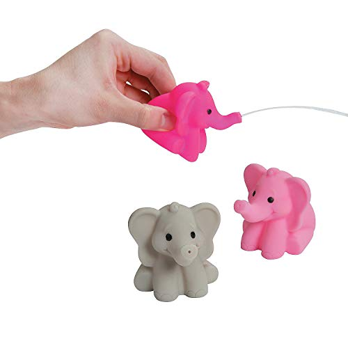 Fun Express - Pink Elephant Squirts for Birthday - Toys - Active Play - Water Toys - Birthday - 12 Pieces