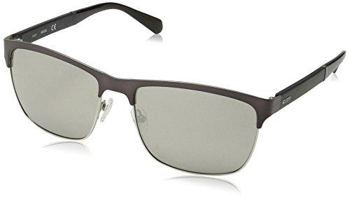 GUESS Men's Gu6892 Rectangular Sunglasses, Matte Gunmetal & Smoke Mirror, 59 mm ()