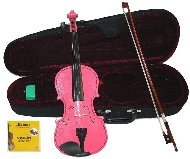 GRACE 1/4 Size Pink Acoustic Violin with Case and Bow+Rosin+Extra Set of Strings (Bass Violin Case)