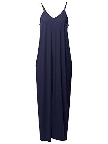 (Casual Premium Adjustable Strap Side Pockets Loose Long Maxi Dress Navy S)