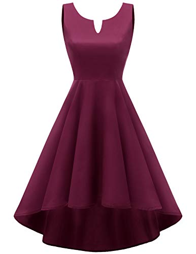 da 1950s Rockabilly ball Burgundy vestito Vestito Abito Cocktail Audery Retro HomRain Swing 06qa0