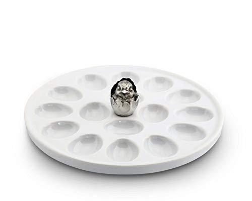 - Vagabond House Little Chick Stoneware and Pewter Deviled Egg Holder/Server; 10