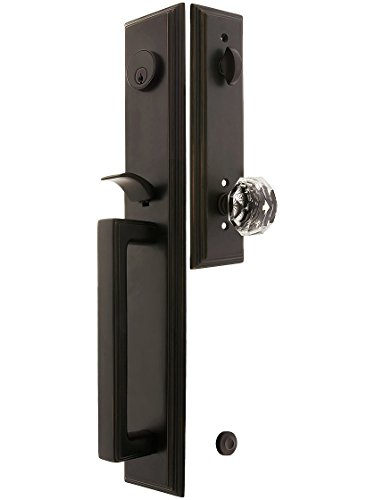 Melrose Style Tubular Handleset in Oil Rubbed Bronze with Diamond Knobs and 2 3/4