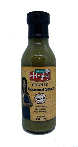 Cognac Gourmet Sauce by Help From Hayley Sauces-Low Sodium, Low Fat, Gluten Free, Vegan Friendly-12 oz (Best Cognac For Cooking)