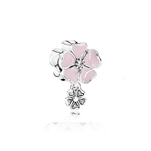 Calvas 100% 925 Sterling Silver Love Charm Cherry Blossom Rose Gold Gift Beads Jewelry Original Vintage Manufacturers - (Color: ()