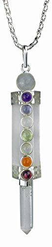Wand Crystal Pendant (Crystal Quartz Chakra Healing Wand Pendulum Pendant with Real Gemstones)