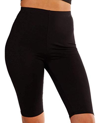 iHeartRaves U Got It High Waisted Knee Length Biker Shorts (Black, Medium)
