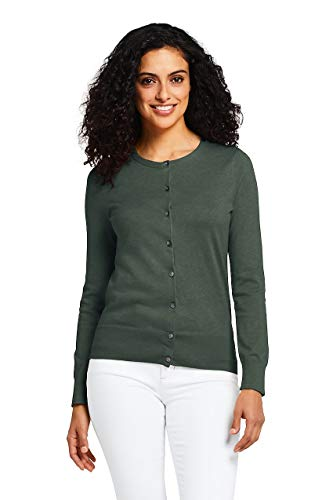- Lands' End Women's Petite Supima Cotton Cardigan Sweater, M, Mountain Green Heather