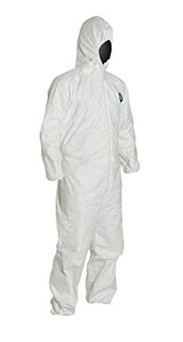 LG Tyvek Coverall W/ Hood, Zipper, Elastic Wrist & Ankle (LG-25 Suits / 1 Case) TY122S WH - LTY127S WH-LG-25-CASE by Tyvek (Image #1)