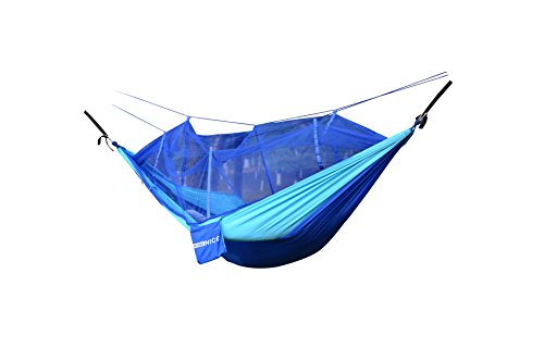 WoneNice Portable Nylon Fabric Travel Camping Hammock with Mosquito Net 8.53 x 4.6 ft + tree straps